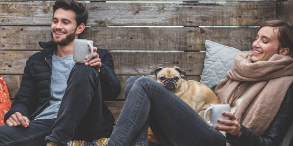 couple relaxed, drinking coffee